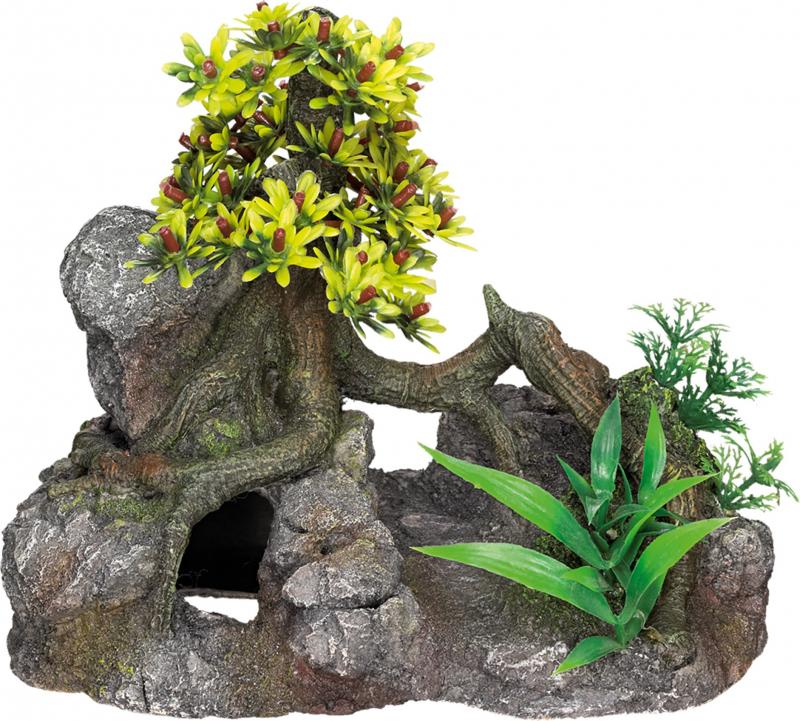 Décoration Aquarium Arbre sur rocher