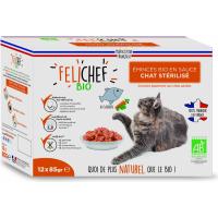 FELICHEF BIO Émincés en sauce Saumon pour chat Stérilisé et adulte