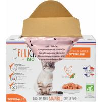 FELICHEF BIO Émincés en sauce Volaille pour chat Stérilisé et adulte