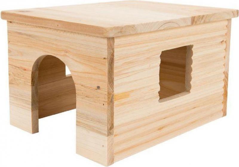 Blockhütte mit Falchdach für Kaninchen