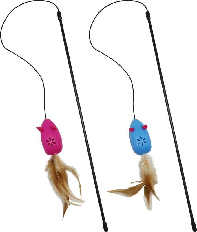 Canne à pêche avec souris grelot + herbe a chat
