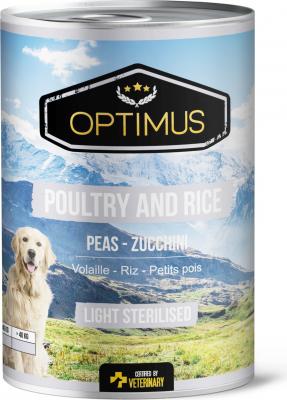 Pâtée Optimus Volaille et Riz, Light / Sterilised pour chien stérilisé