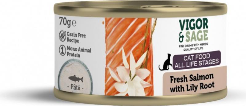 VIGOR & SAGE Pâtée Saumon racine de lys pour chat