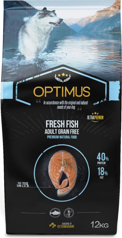 OPTIMUS Fresh Fish au poisson frais sans céréales pour chien adulte