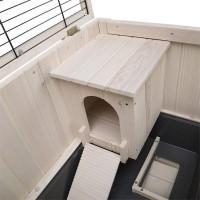Clapier d'intérieur en bois Cottage pour rongeurs (5)