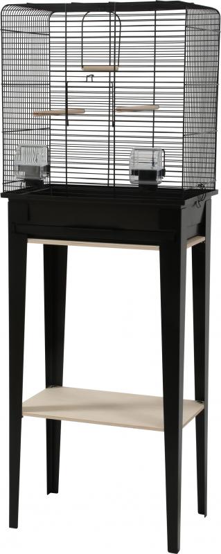 Cage oiseaux avec son meuble Chic Loft - Noir - 3 tailles disponibles