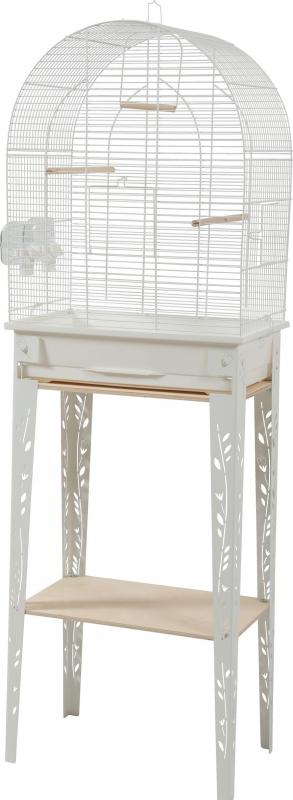 Cage oiseaux avec son meuble Chic Patio - Blanc - 3 tailles disponibles