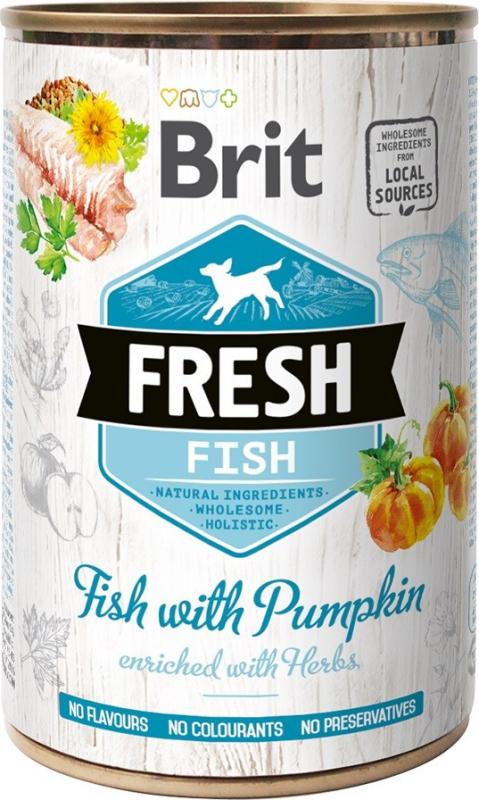 Pâtée Brit Fresh au Poisson et potiron pour chien