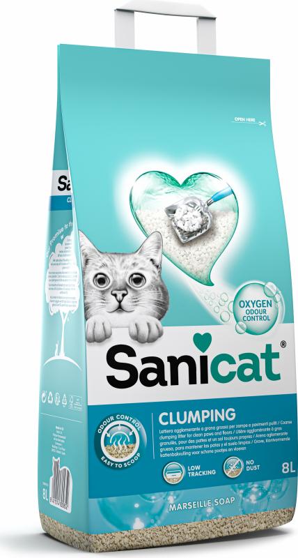 Klonterende kattenbakvulling Sanicat Marseillezeepgeur met actieve zuurstof