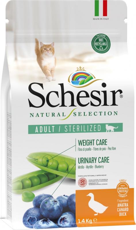 Schesir Natural Selection Pienso para gatos adultos esterilizados con Pato y Arándanos