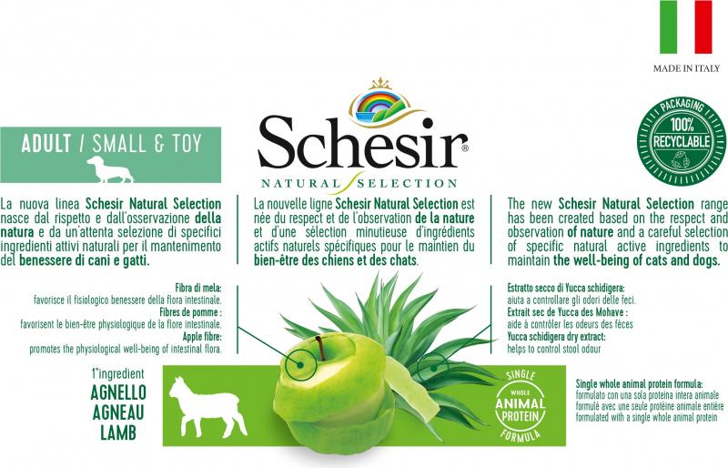 Schesir Natural Selection Adulte Petit Chien Mono protéine Agneau
