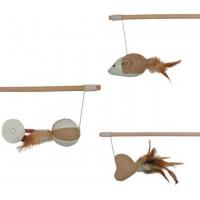 Canne à pêche - Différent modèles : souris, cœur ou balle avec plumes