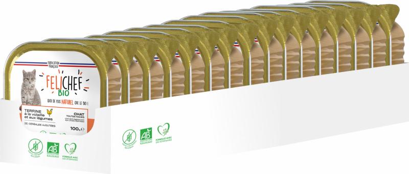 FELICHEF BIO Barquettes pour chat - 2 saveurs disponibles
